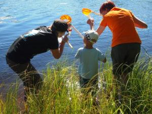 Kuvassa näkyy kolme henkilöä, joista aikuiset opastavat lapselle vesihavaintojen tekemistä.