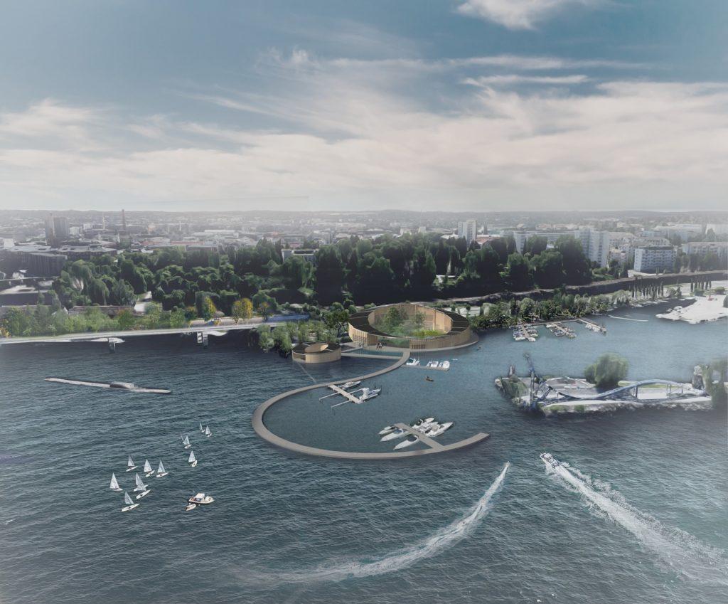 Kuvassa on havainnekuva Järviluontokeskuksesta.