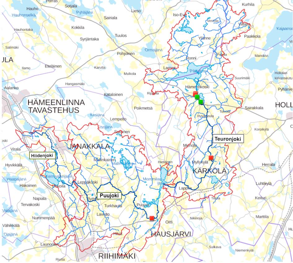 Karttakuva  Teuron- ja Puujoen valuma-alueesta. Kuva: Hämeen ELY-keskus