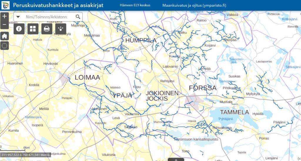 Hämeen ELY-keskus auttaa ojitusyhteisöjä avoimella karttapalvelulla.