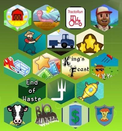 Kuvassa näkyy Opi ravinteista! -mobiilipelien logoja.