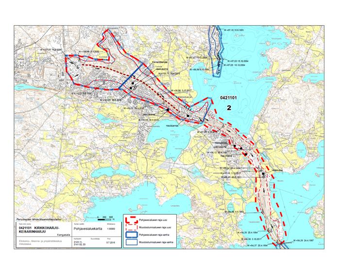 Kuvassa on kuvattuna pohjavesialue muutosehdotuksin.