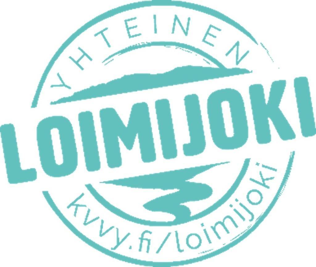 Yhteinen Loimijoki hankkeen logo, jossa ympyrän sisällä joki ja tekstinä Yhteinen Loimijoki, kvvy.fi/loimijoki