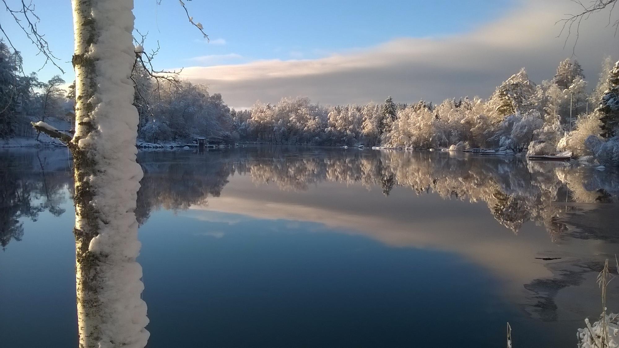 Näkymä talvisesta järvimaisemasta Lempäälän Koivunokalta vuonna 2015. Kuvaajana Diar Isid.
