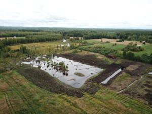 Ilmakuva Lokaluoman kosteikosta, jonka Pro Kuivasjärvi on toteuttanut. Kuva: Pro Kuivasjärvi